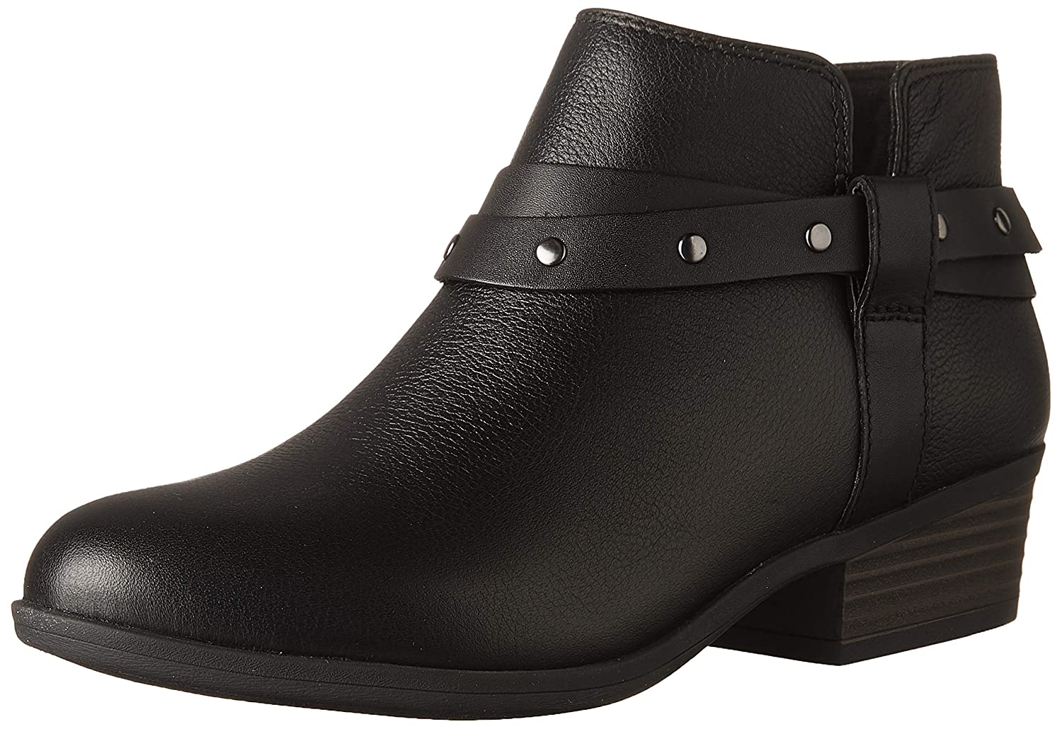 Black Leather Clarks Womens Addiy Zoie Ankle Boot