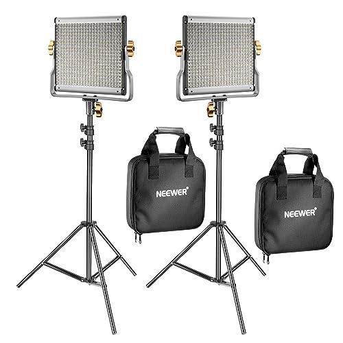 Neewer 2 Kit d'Illuminazione Luce 480 LED Bicolore Dimmerabile & Cavalletto: Faretto LED 3200-5600K CRI 96+ con Staffa-U & 190cm Cavalletto per YouTube Fotografia Registrazioni Video in Studio