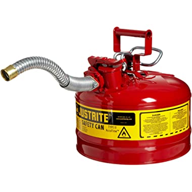 Justrite 7225130 AccuFlow 2.5 Gallon, 11.75  OD x 12  H Galvanized Steel Type II Blue Safety Can With 1  Flexible Spout