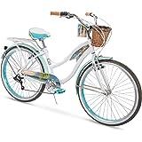 Huffy Panama Jack Women's Beach Cruiser Bike 26 inch 6-Speed, Lightweight, Pearl White