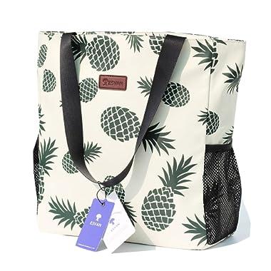 Original Floral Water Resistant Large Tote Bag Shoulder Bag for Gym Beach Travel Daily Bags Upgraded ([H] Floral Leaf)