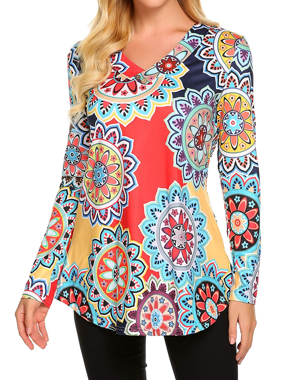 Long Sleeve Navy bluee Sweetnight Women Floral Print V Neck Button Decor Peasant Summer Swing Tunic Tops Shirts
