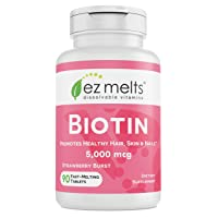 EZ Melts Biotin for Hair, Skin, Nails, 5,000 mcg, Sublingual Vitamins, Vegan, Zero...
