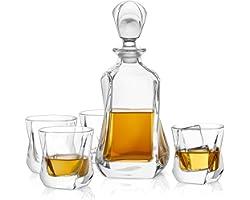 JoyJolt Aurora 5-Piece Crystal Whiskey Decanter Set,100% Crystal Bar Set, Crystal Decanter Set Comes With A Scotch Decanter-2