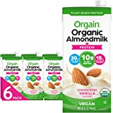Orgain Organic Plant Based Protein Almond Milk, Unsweetened Vanilla - Non Dairy, Lactose Free, Vegan, Gluten Free, Soy Free,
