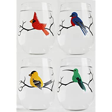 Bird Glassware Set of 4 Stemless Wine Glasses, Cardinal, Bluebird, Yellow Finch, Hummingbird Glass Collection