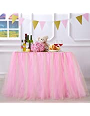 """N&T NIETING Handmade Glitter Sparkle Tutu Tulle Table Skirt Cover Improved for Girl Princess Birthday Party Baby Showers Weddings Holiday Parties Home Decoration, 47""""-60"""" Long 32"""" High (Pink)"""