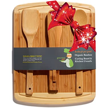 Bamboo Cutting Board Housewarming Gift Set - With Bonus 3-Piece Cooking Utensils - Wooden Spoon, Salad Tongs and Wood Spatula - Best Mother's Day, Wedding & Kitchen Gadgets Gift Idea