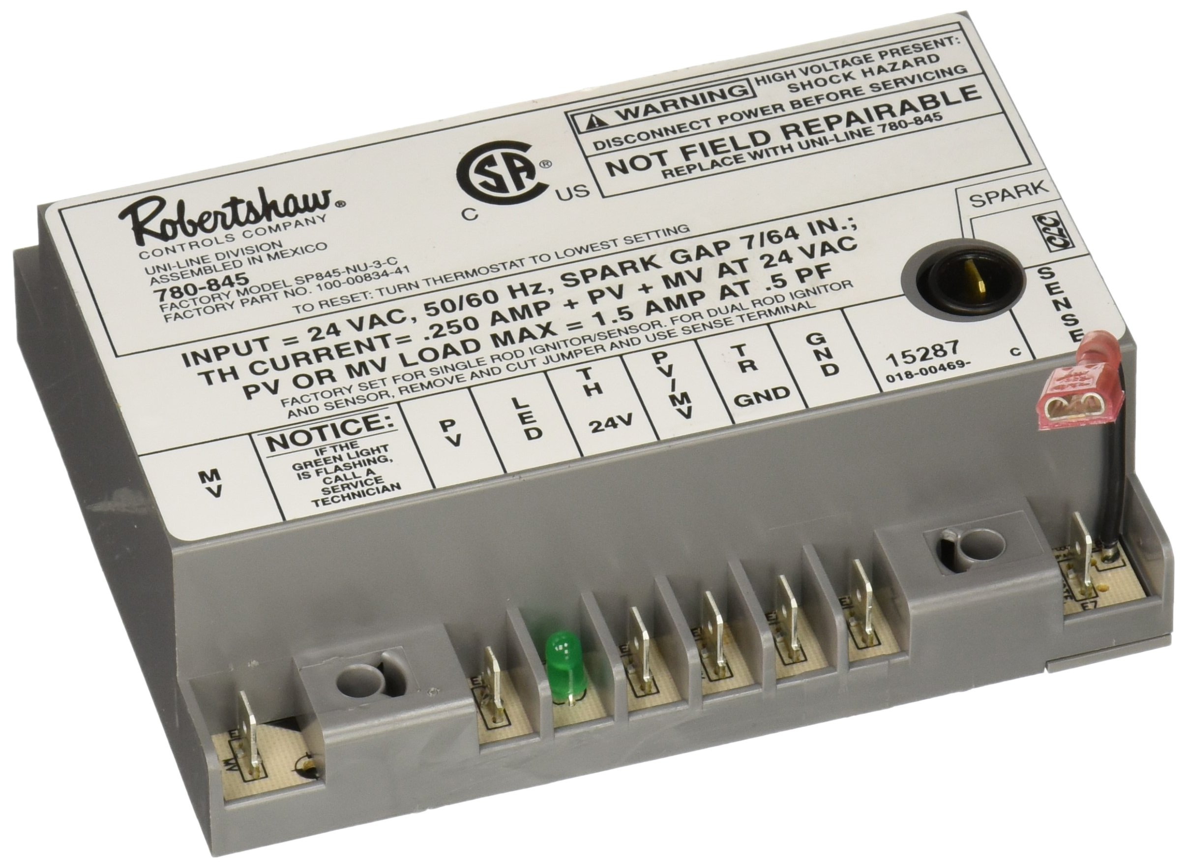Robertshaw 780 845 Ignition Module Intermittent Pilot Current Sensing Lockout Relay 24v Home Improvement