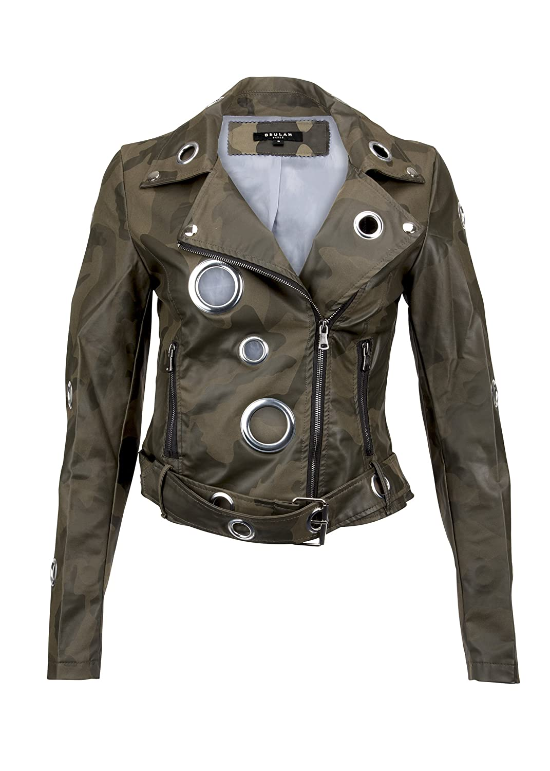Womens Camo Moto Jacket with Grommets
