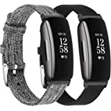 LORDSON Wristband Compatible with Fitbit Inspire 2 & Inspire HR & Inspire Watch Bands, 2-Pack Breathable Woven Fabric Quick R