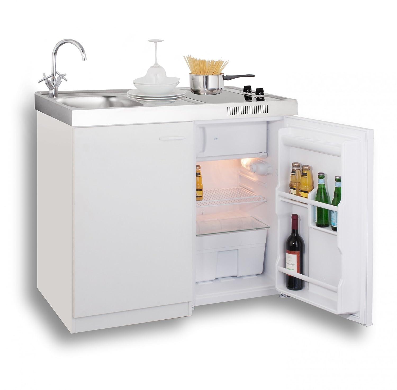 MEBASA MK0006 Singleküche, Miniküche 100 cm Weiß mit Duo-Ceran ...