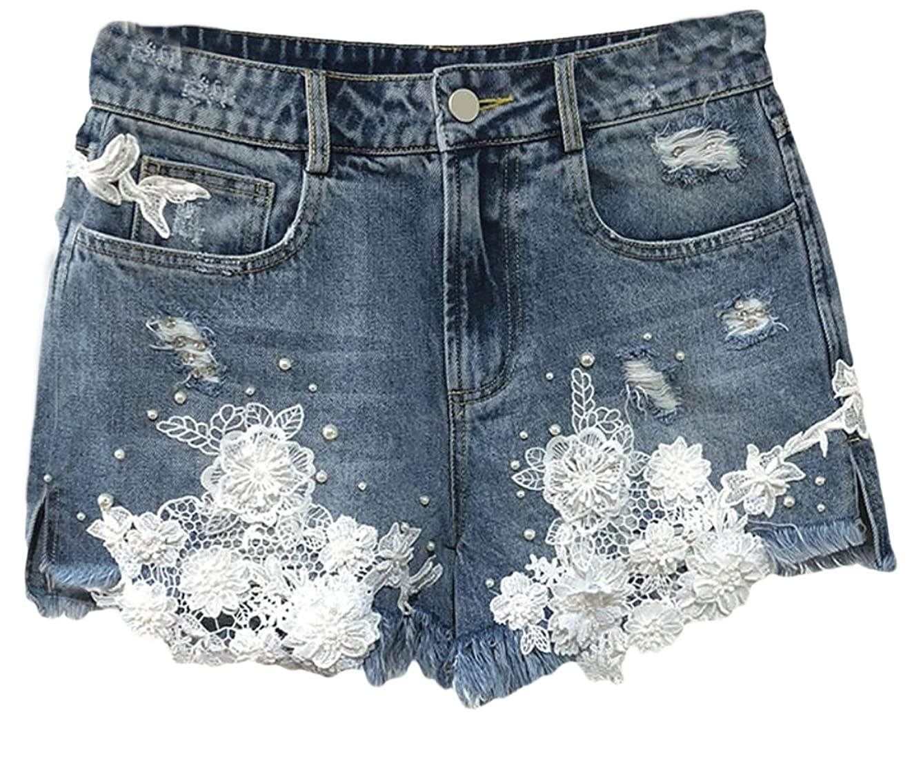 bluee Yayu Women Denim Shorts,Fashion Print Lace Splice High Waist Denim Shorts