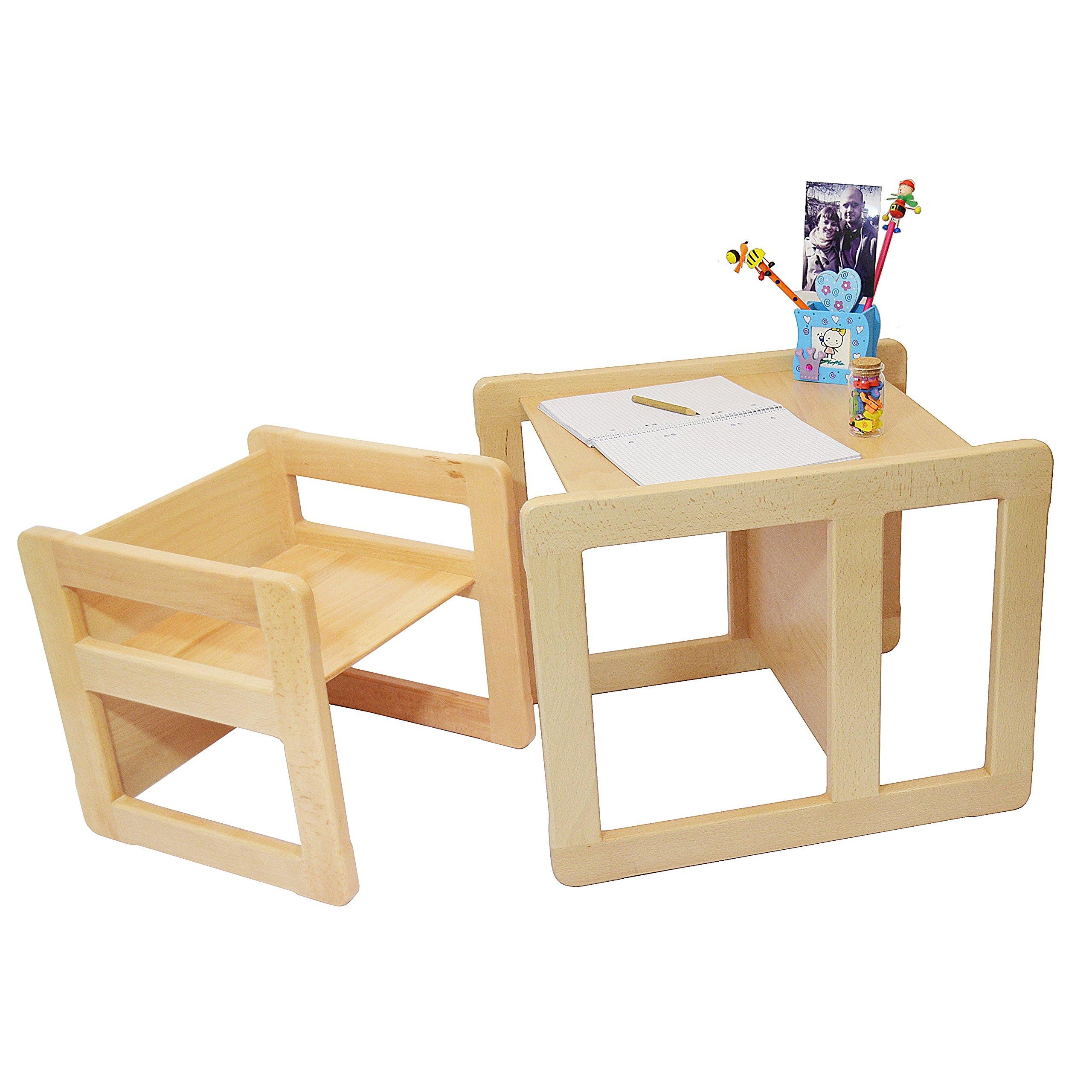 Obique Set Mobilio Multifunzionale 3 In 1 Per Bambini Un Tavolino Multifunzionale E Una Sedia Multifunzionale Per Bambini O Due Tavolini Da Caffè Per Adulti In Faggio Lacca Chiara product image