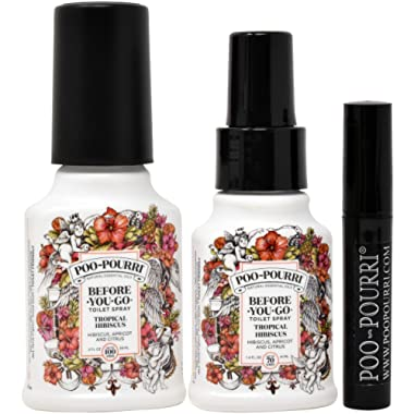 Poo-Pourri Before-You-Go Toilet Spray Set, Included 1.4-Ounce, Bottle, Tropical Hibiscus Scent, 2 -Ounce, Bottle, Tropical Hibiscus Scent, and 4ml Travel Size Disposable Spritzer Trap-A-Crap