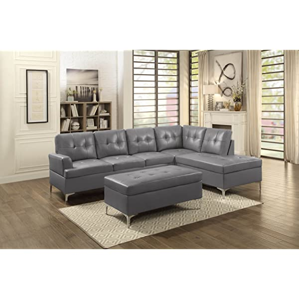 Homelegance 3-Piece Tufted Accent Sectional Sofa with Chaise and Ottoman Bi-Cast Vinyl, Grey