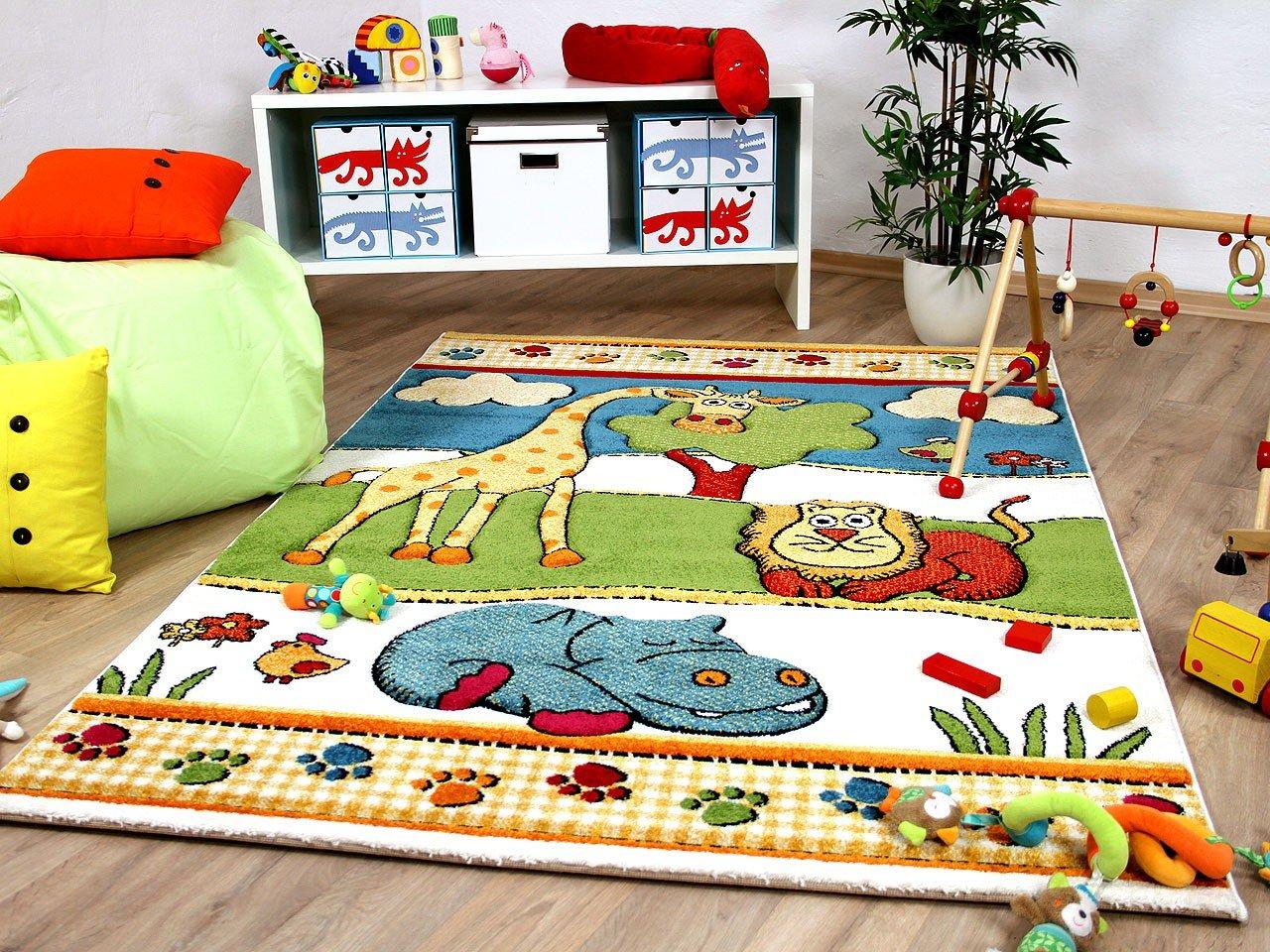 Kinder und Spiel Teppich Savona Kids Lustige Zoowelt Bunt in 5 Größen