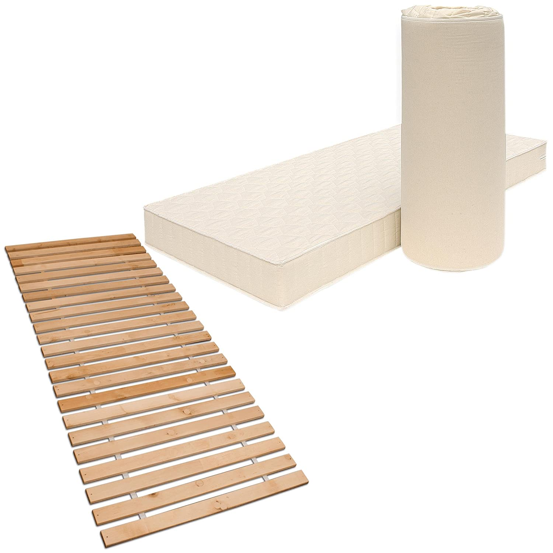 Betten-ABC Matratzenset Poly 90x200 cm, Härtegrad H2,5 + Premium Rollrost aus massiver Erle