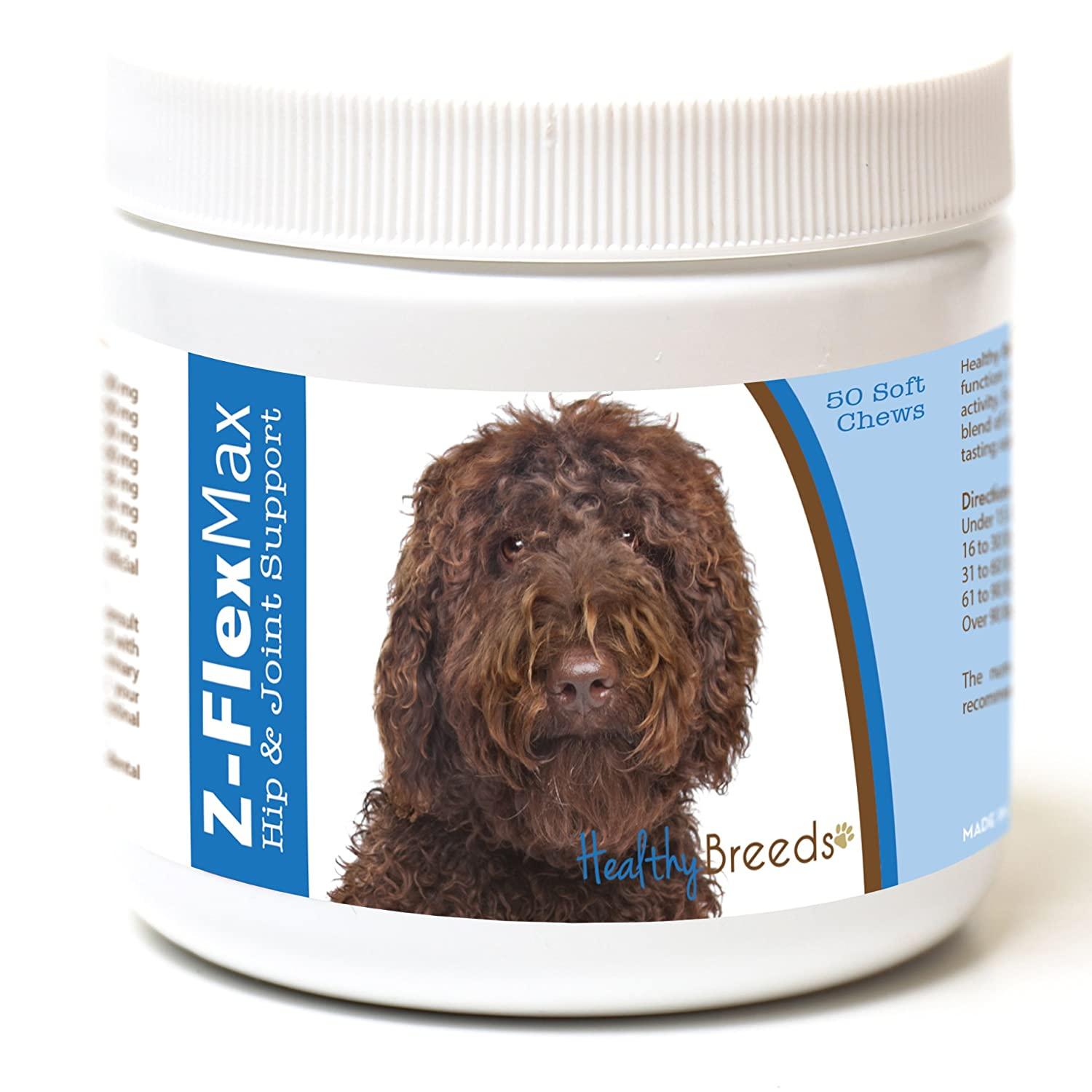 50 Ct Healthy Breeds Z Flex Max Hip & Joint Supplement Soft Chews for Labradoodle, Dark Brown OVER 100 BREEDS Medium & Large Breed Formula 50 Count