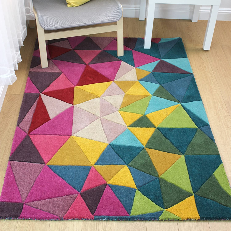 E-Rugs Modernes Montego Falmouth Prism handgetuftet Geometrische Muster Wolle Teppich, Multi – 120 x 170 cm