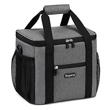 Bagmine 24 Can Cooler Bag Soft Sided, Collapsible Insulated Lunch Cooler Bag for Picnic Camping, Leak Proof, 15 Liter, Gray/Navy Blue/Beige 