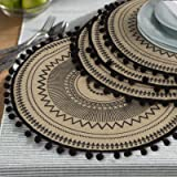 Lahome Mandala Flower Round Placemat Farmhouse Jute Table Mats With Pompom Tassel 15 Inch Place Mat For Dining Room Kitchen Table Decor Black 4 Home Kitchen
