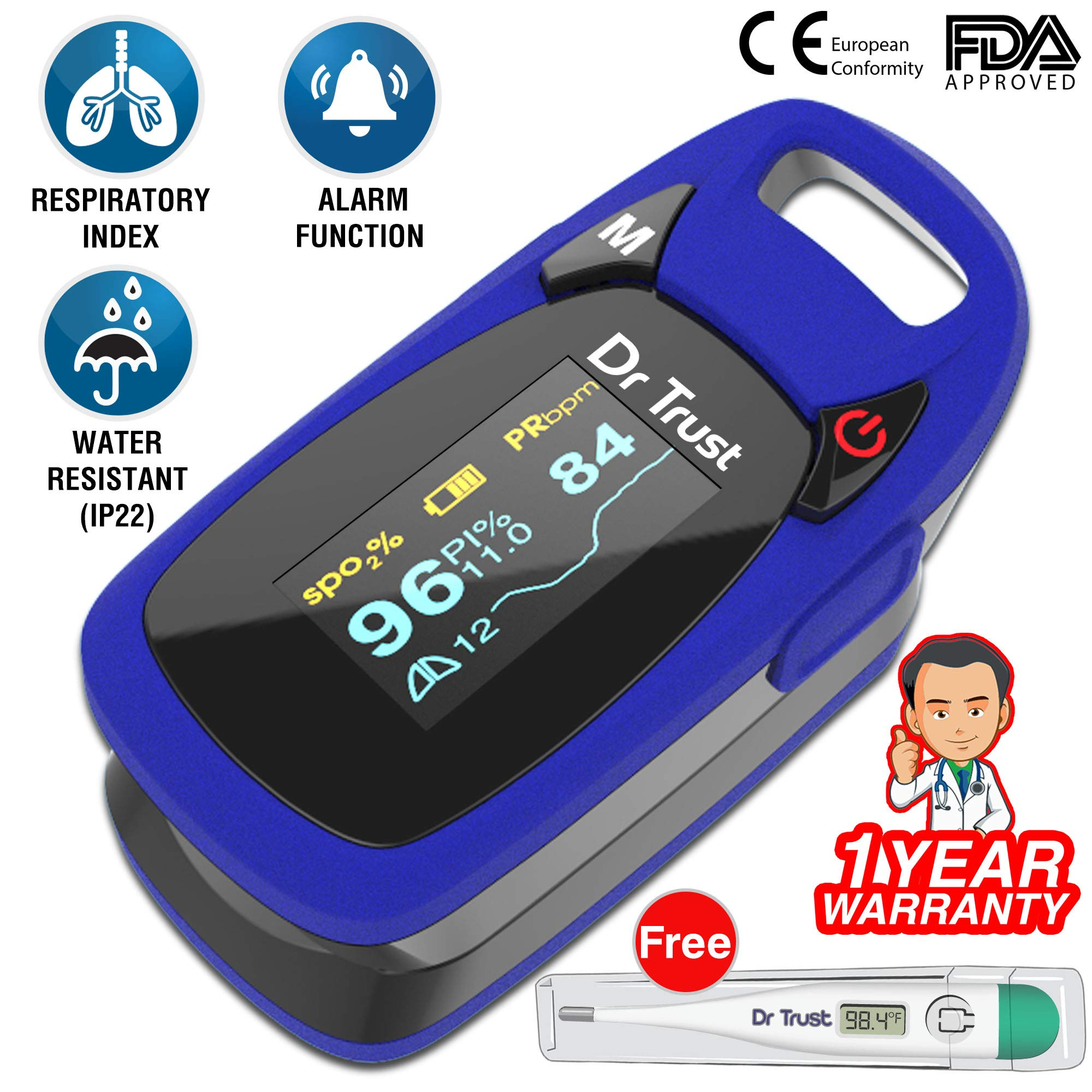 Dr Trust (USA) Professional Series Finger Tip Pulse Oximeter With Audio Visual Alarm and Respiratory Rate(Blue) product image