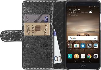 StilGut Talis, Housse Huawei Mate 9 avec Porte-Cartes en Cuir véritable. Etui Portefeuille à Ouverture latérale et Languette magnétique pour Huawei Mate 9, Noir
