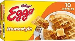 Eggo Frozen Waffles, Frozen Breakfast, Toaster Waffles, Homestyle, 12.3oz Box (10 Waffles)
