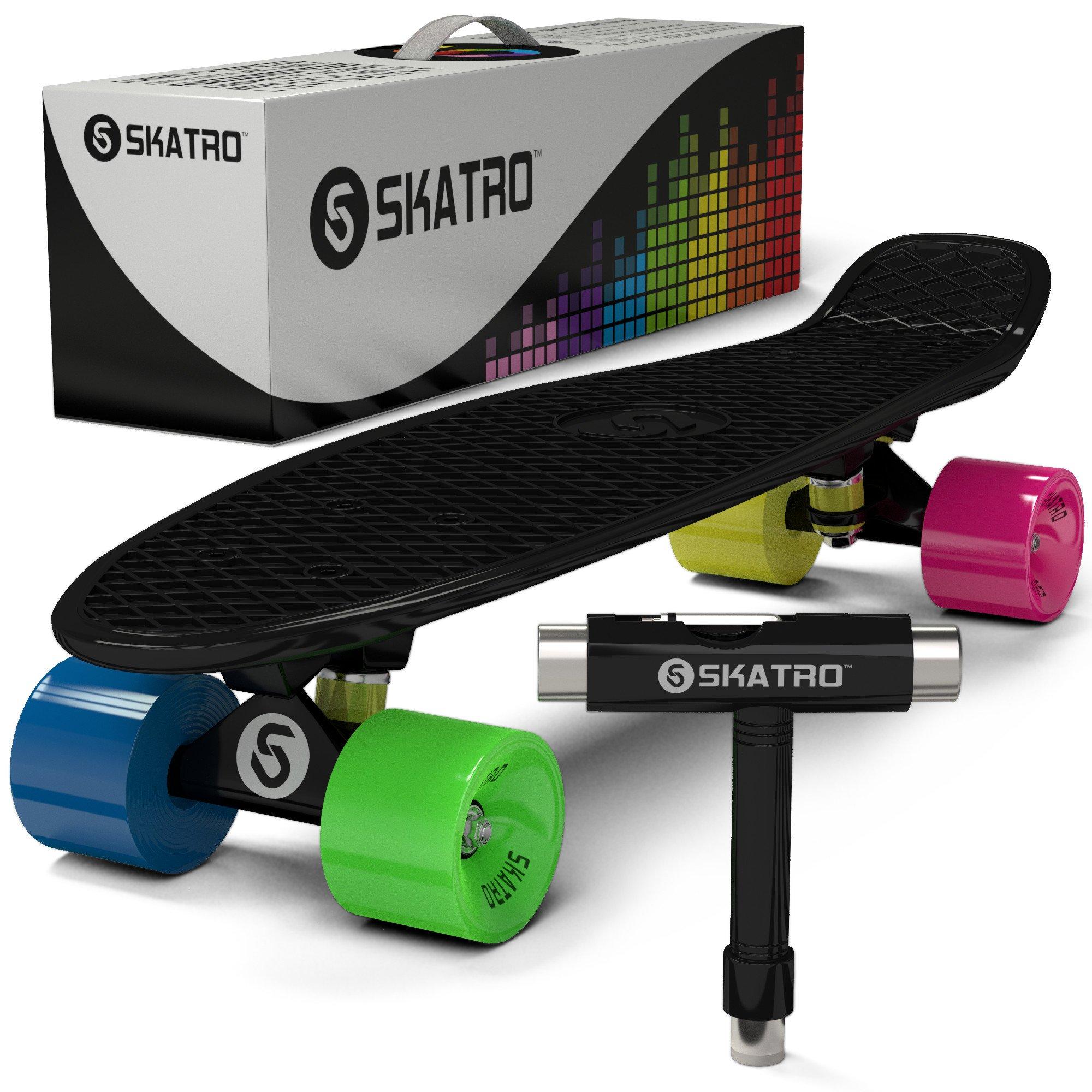 Skatro Mini Cruiser Skateboard. 22x6inch Retro Style Plastic Board Comes  Complete f54774f9f59