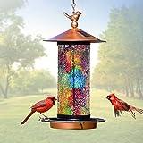 XDW-GIFTS 2020 Newest Solar Wild Bird Feeder Hanging for Garden Yard Outside Decoration, Waterproof Mosaic Lantern Design Fee