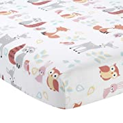 Lambs & Ivy Little Woodland Animals Fitted Crib Sheet, White