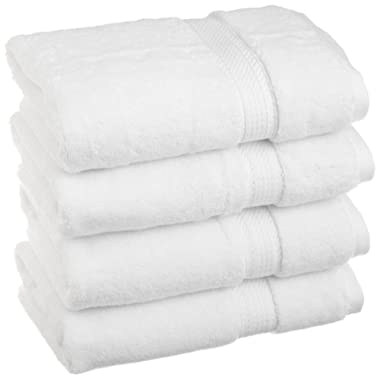 Superior 900 GSM Luxury Bathroom Hand Towels, Made Long-Staple Combed Cotton, Set of 4 Hotel & Spa Quality Hand Towels - White, 20  x 30  Each