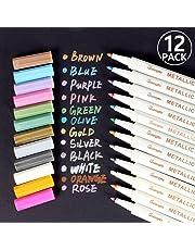 Penne metalliche, Rymall set di 12 pennarelli in colori assortiti Per Album Fotografici, Scatole e Biglietti, Funziona su Qualsiasi Tipo di Carta e Superfici in Vetro, Plastica, Ceramica e Legno