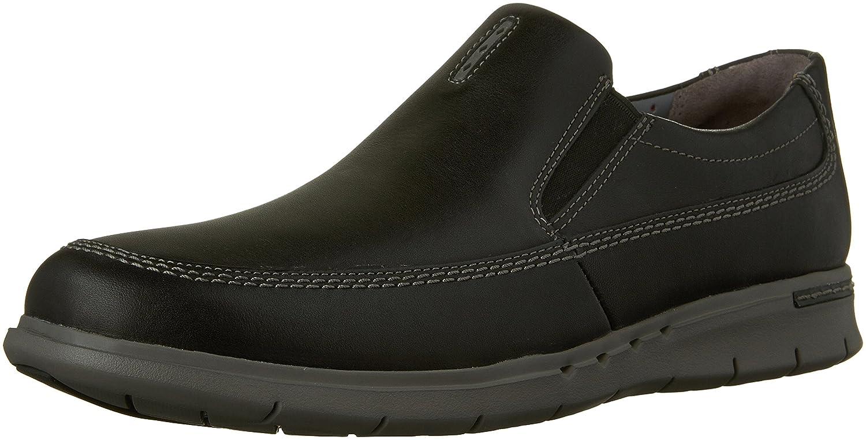 Black Leather Clarks Men's Unbyner Easy Slip-On shoes