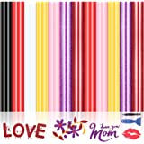 Heat Transfer Vinyl Glitter HTV Vinyl Bundle Mother's Day Iron On Vinyl for Cricut 12pcs Pre-Cut Vinyl Sheets for T-Shirt, Ea