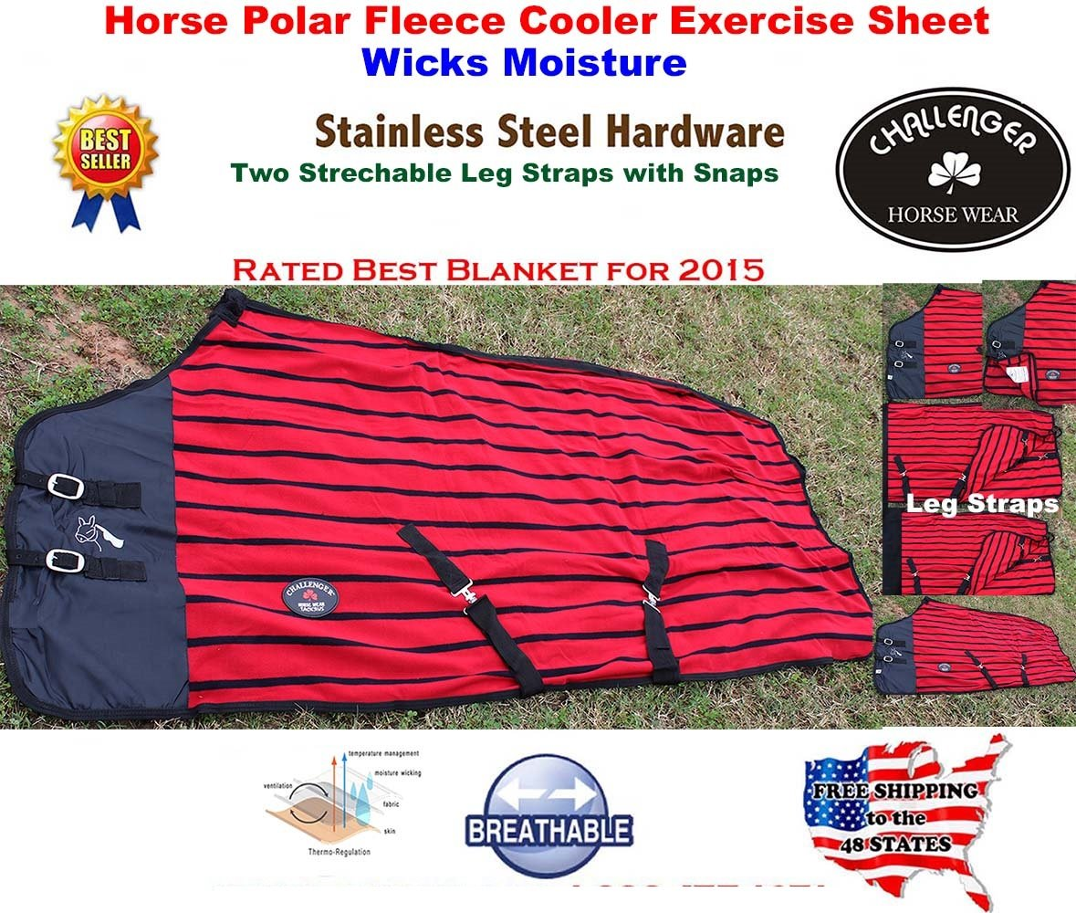 68 inches Challenger Horsewear 68  Horse Sheet Polar Fleece Cooler Exercise Blanket Wick 4365