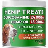 PawfectChew Hemp + Glucosamine Treats for Dogs - Made in USA Hip & Joint Supplement w/Hemp Oil Chondroitin MSM Turmeric - Nat