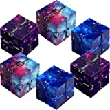 6 Pieces Infinity Cube Prime Fidget Toy for Stress and Anxiety Relief Sensory Tool Fidgeting Game Supplies (Starry Color, Sta
