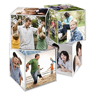 MCS 3.25x3.25 Inch Clear Plastic 6 Sided Photo Cube 4-Pack, Clear (65750)