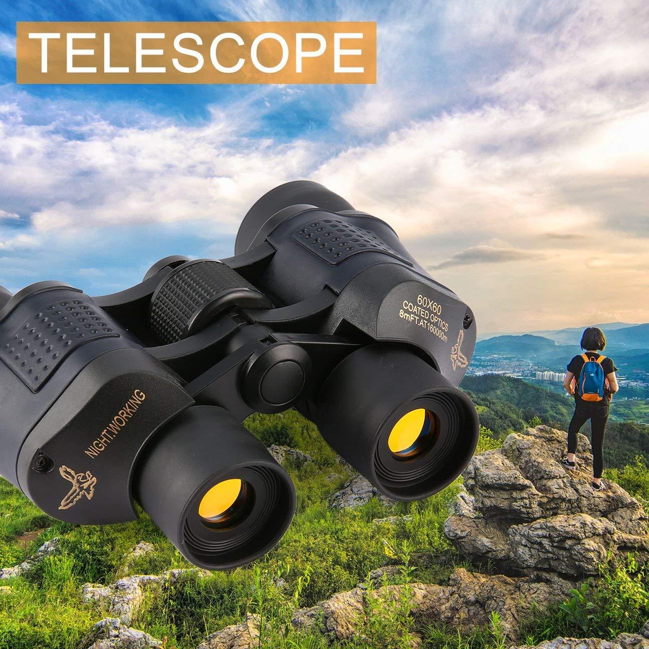 60x60 16000M HD Telescopio binoculares binoculares Telescopio de Caza Profesional Visión Nocturna para Excursionismo Viajes Trabajo de Campo Forestal Protección contra Incendios Negro 653c94