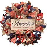 SHAPPM 4th of July Wreaths Patriotic Independence Wreath for Front Door Handcrafted Hanging Artificial Wreath Home Decor