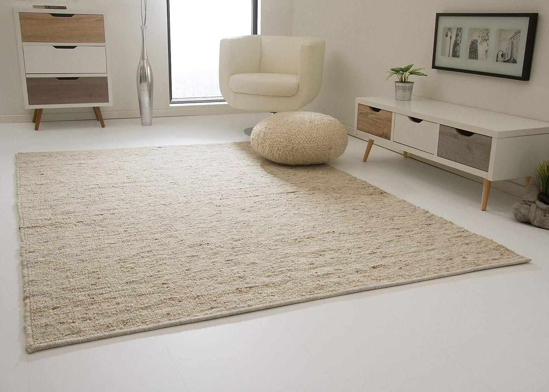 Landshut Handweb Teppich aus 100% Schurwolle - natur, Größe  130x190 cm