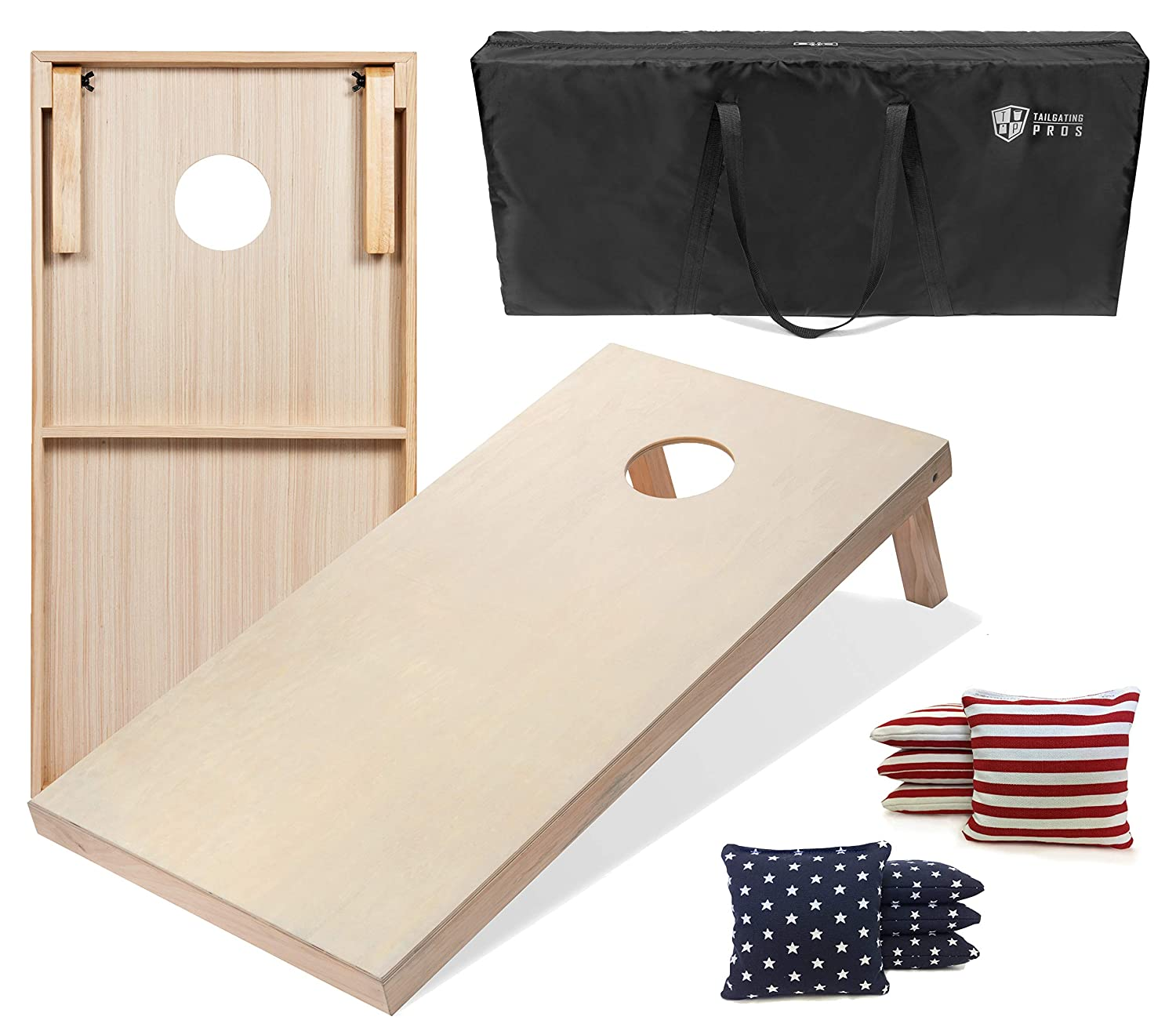Stars   Stripes 3'x2' Boards Tailgating Pros Cornhole Boards  4'x2' & 3'x2' Cornhole Game w Carrying Case & Set of 8 Corn Hole Bags  150+ color Combos  Optional LED Lights