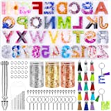 Resin Keychain Mold, Paxcoo Alphabet Resin Mold Kit with Foil Flakes, Keychain Tassels and Pin Vise Set for Resin Casting, Ke