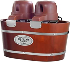 Nostalgia ICMW200DBL Ice Cream Maker, 4 Quart, Wood