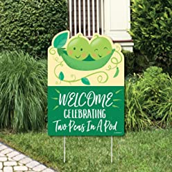 Big Dot of Happiness Double The Fun - Twins Two Peas in a Pod - Party Decorations - Baby Shower or First Birthday Party Welcome Yard Sign
