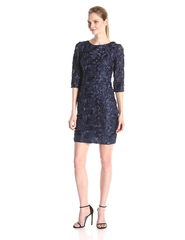 Navy Alex Evenings Womens Short pinktte Shift Dress with 3 4 Sleeves (Petite and Regular Sizes) Dress