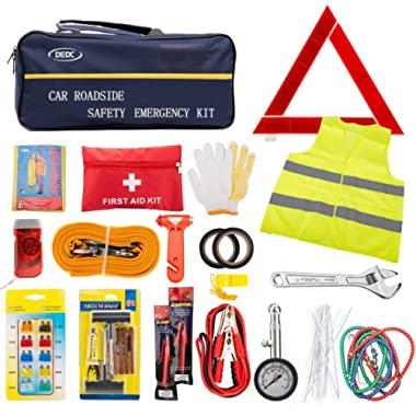 72pcs Auto Emergency Car Kit -First Aid Kit with Jumper Cables, Tow Rope,Triangle, Flash Light, Rain Coat, Tire Pressure Gauge, Safety Vest & More Multifunctional Roadside Assistance Tools
