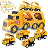 Toys for 1 2 3 4 5 6 Year Old Boys, Kids Toys Truck for Toddler Boys Girls, 5 in 1 Friction Power Construction Toys Car Carri